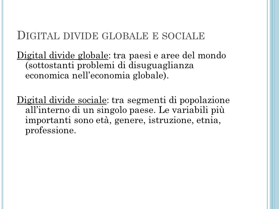 Digital divide globale e sociale