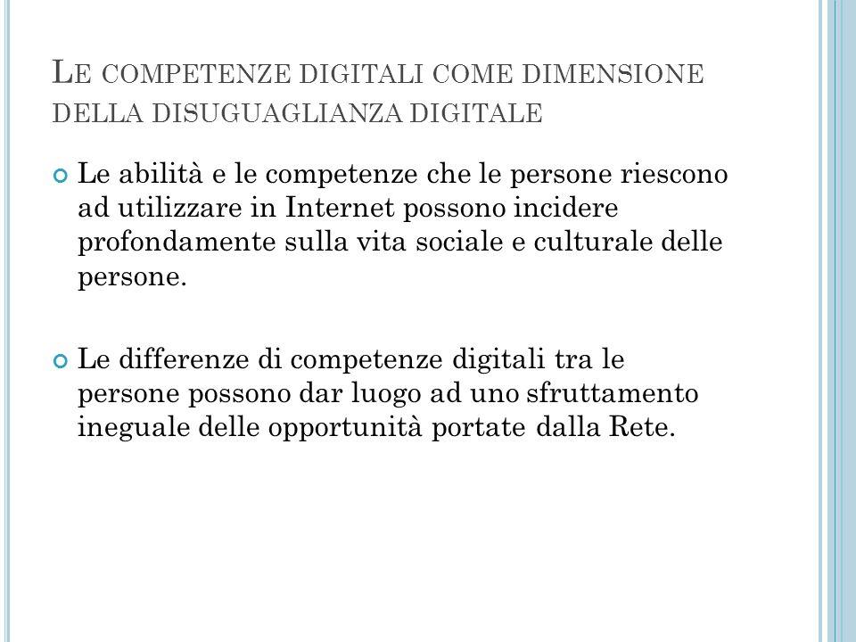 Le competenze digitali come dimensione della disuguaglianza digitale