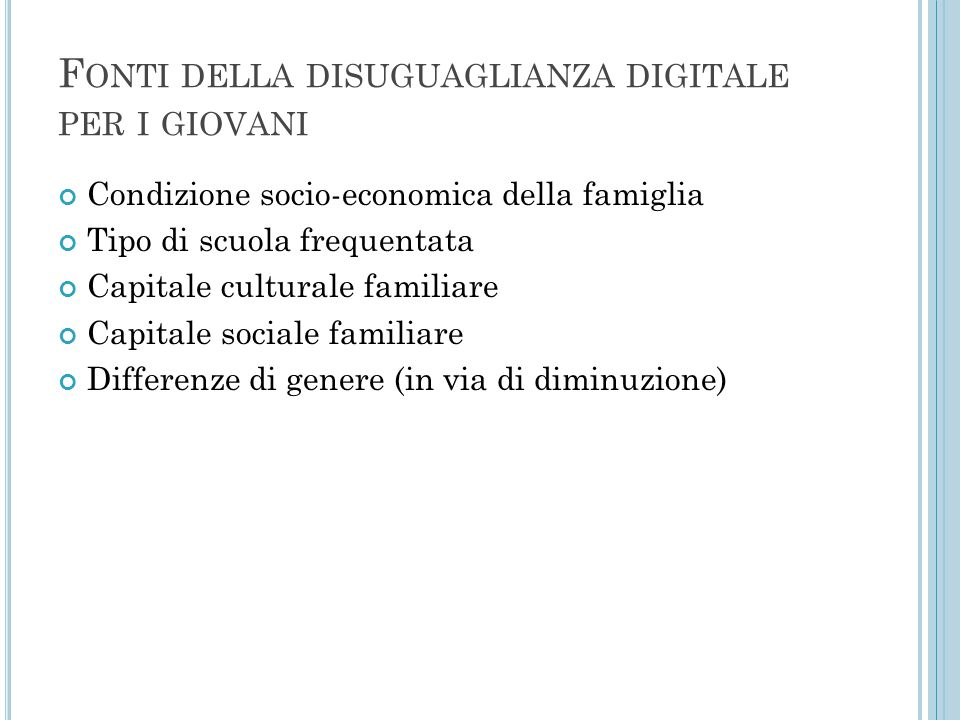 Fonti della disuguaglianza digitale per i giovani
