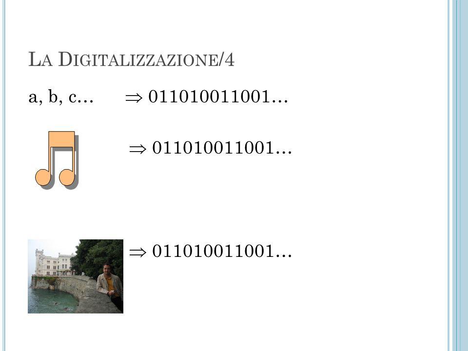 La Digitalizzazione/4 a, b, c…  011010011001…  011010011001…
