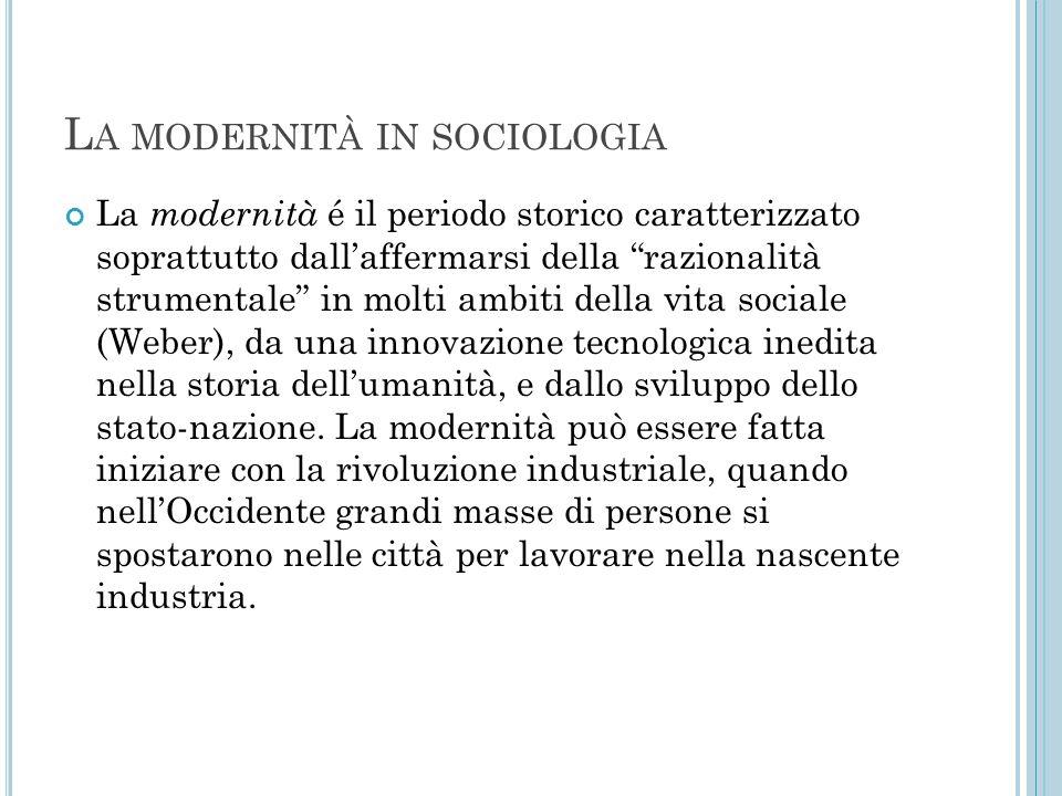La modernità in sociologia