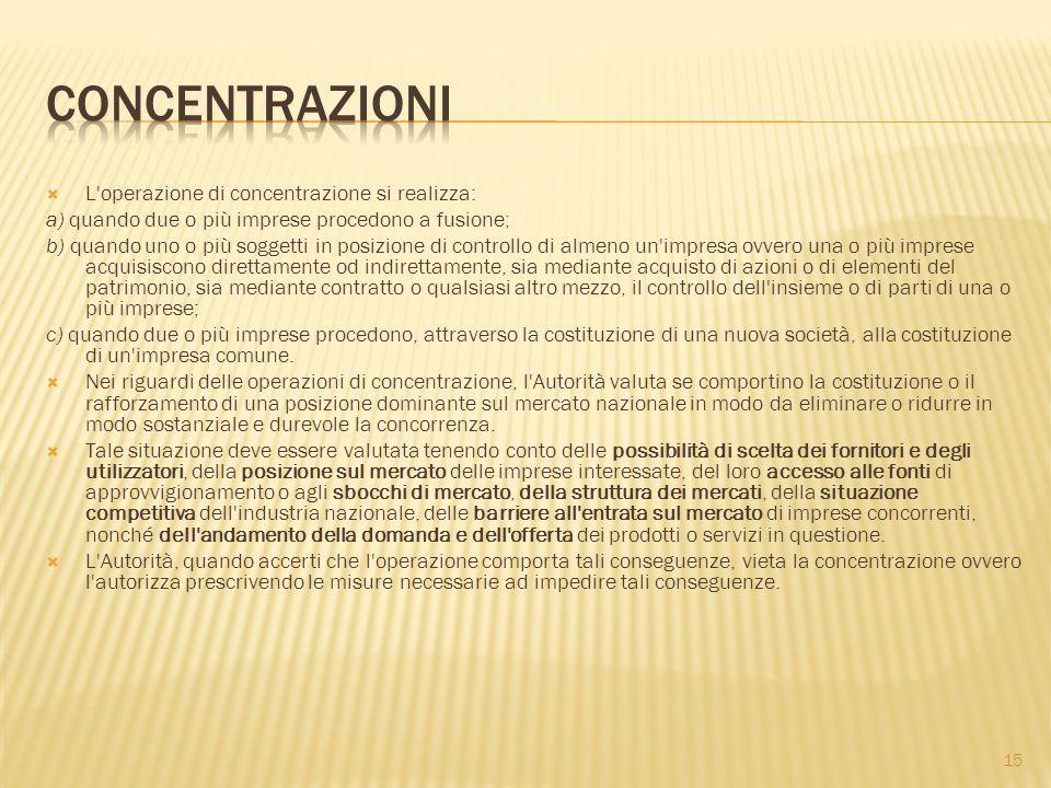 cONCENTRAZIONI L operazione di concentrazione si realizza: