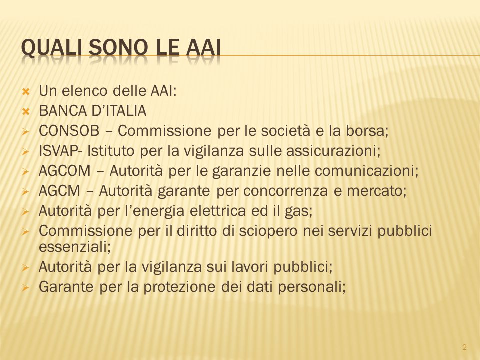 QUALI SONO LE AAI Un elenco delle AAI: BANCA D'ITALIA