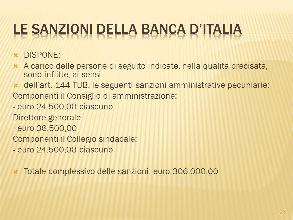 Le sanzioni della banca d'italia