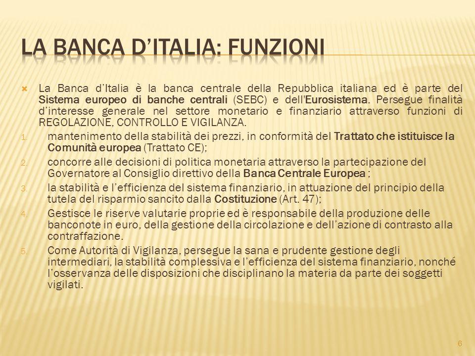 LA BANCA D'ITALIA: FUNZIONI