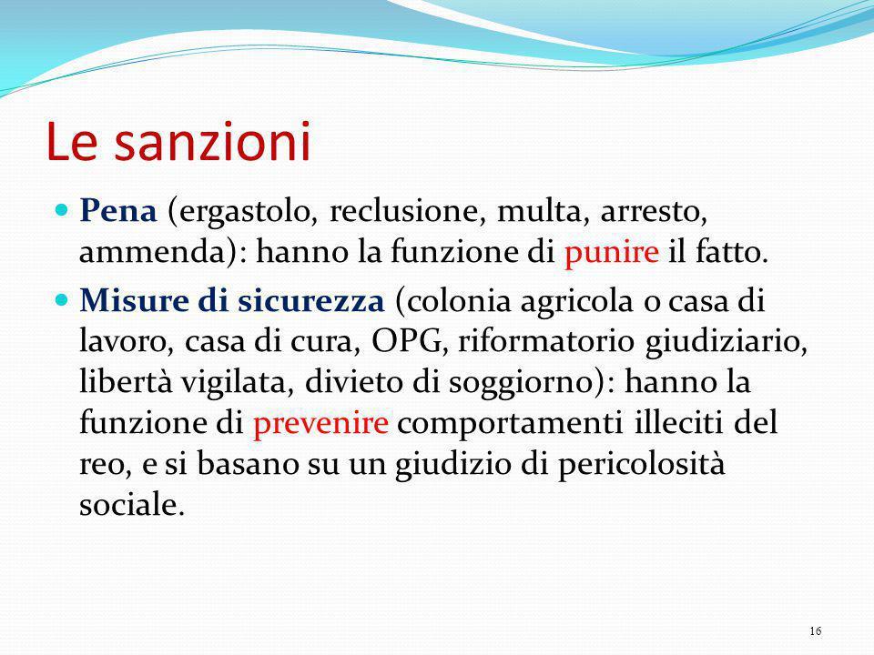 Le sanzioni Pena (ergastolo, reclusione, multa, arresto, ammenda): hanno la funzione di punire il fatto.