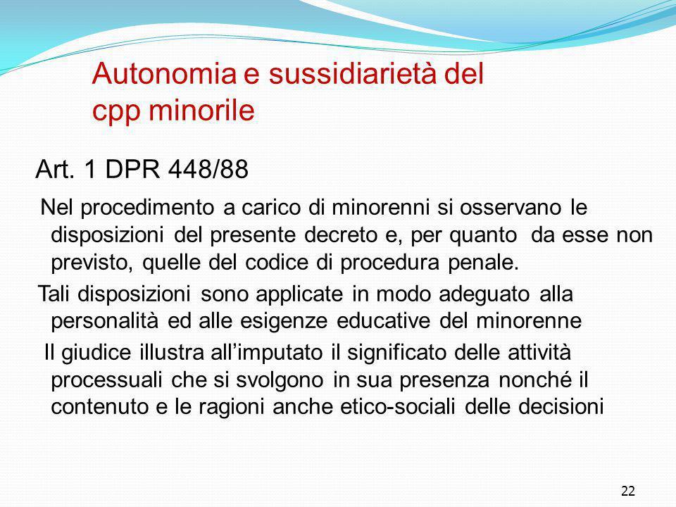 Autonomia e sussidiarietà del cpp minorile