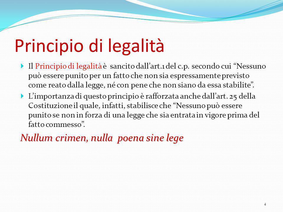 Principio di legalità Nullum crimen, nulla poena sine lege
