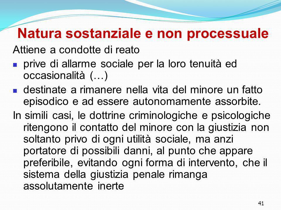 Natura sostanziale e non processuale