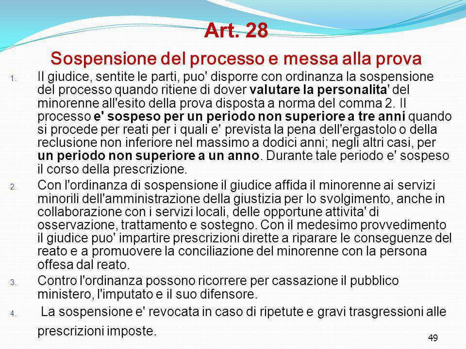 Art. 28 Sospensione del processo e messa alla prova
