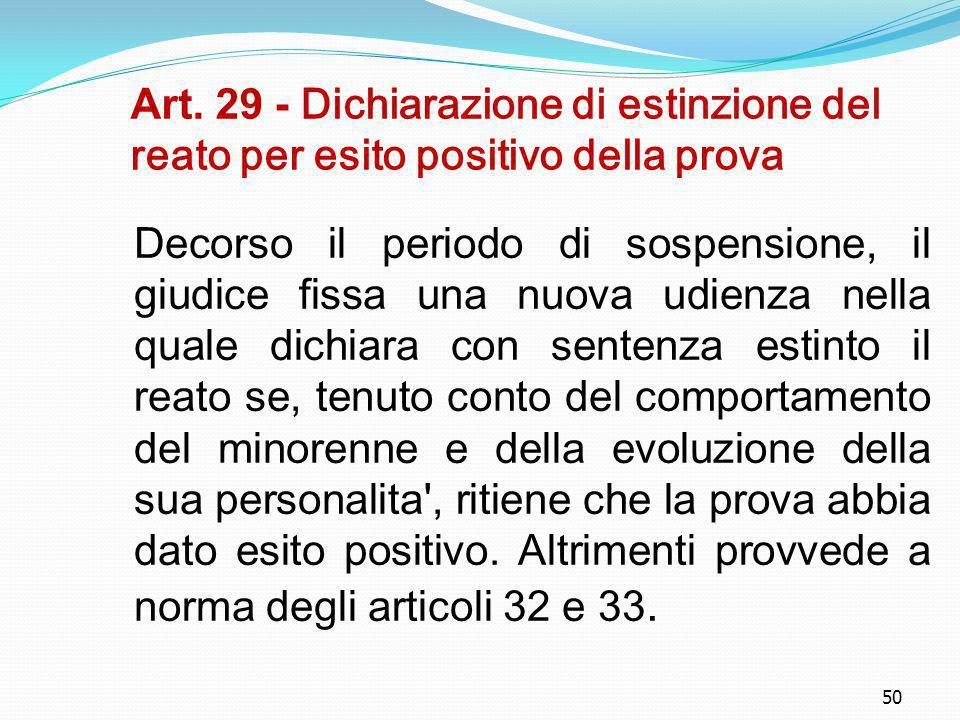 Art. 29 - Dichiarazione di estinzione del reato per esito positivo della prova