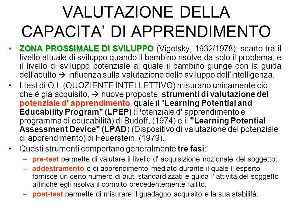 VALUTAZIONE DELLA CAPACITA' DI APPRENDIMENTO
