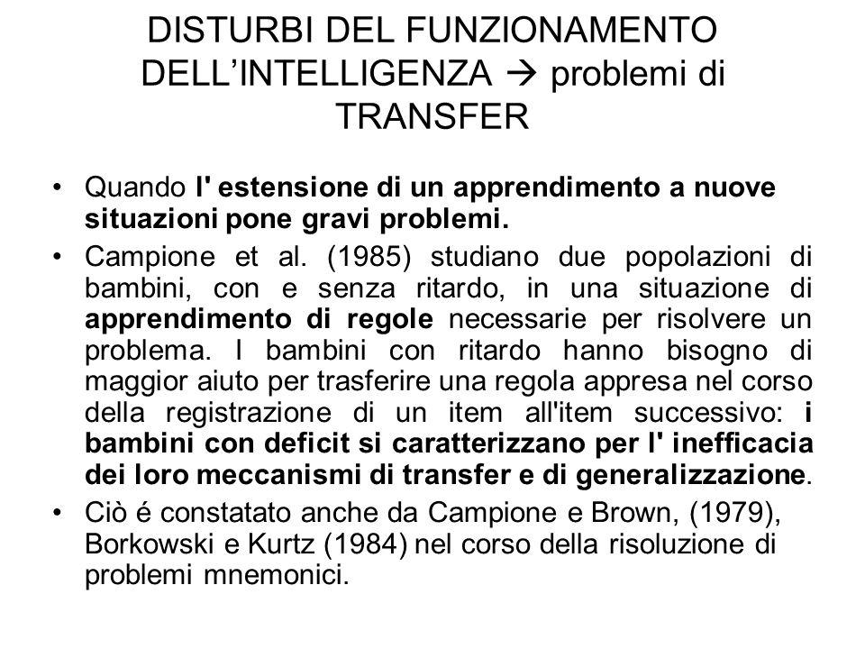DISTURBI DEL FUNZIONAMENTO DELL'INTELLIGENZA  problemi di TRANSFER