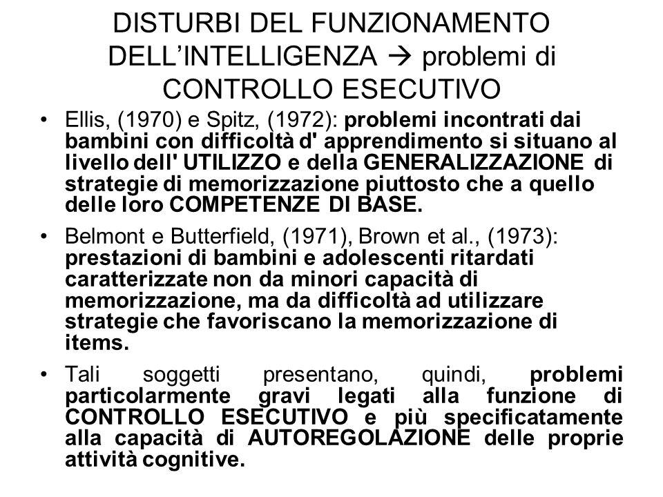 DISTURBI DEL FUNZIONAMENTO DELL'INTELLIGENZA  problemi di CONTROLLO ESECUTIVO
