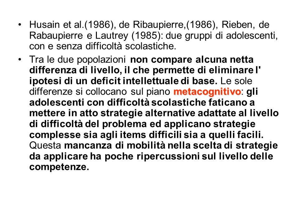 Husain et al.(1986), de Ribaupierre,(1986), Rieben, de Rabaupierre e Lautrey (1985): due gruppi di adolescenti, con e senza difficoltà scolastiche.