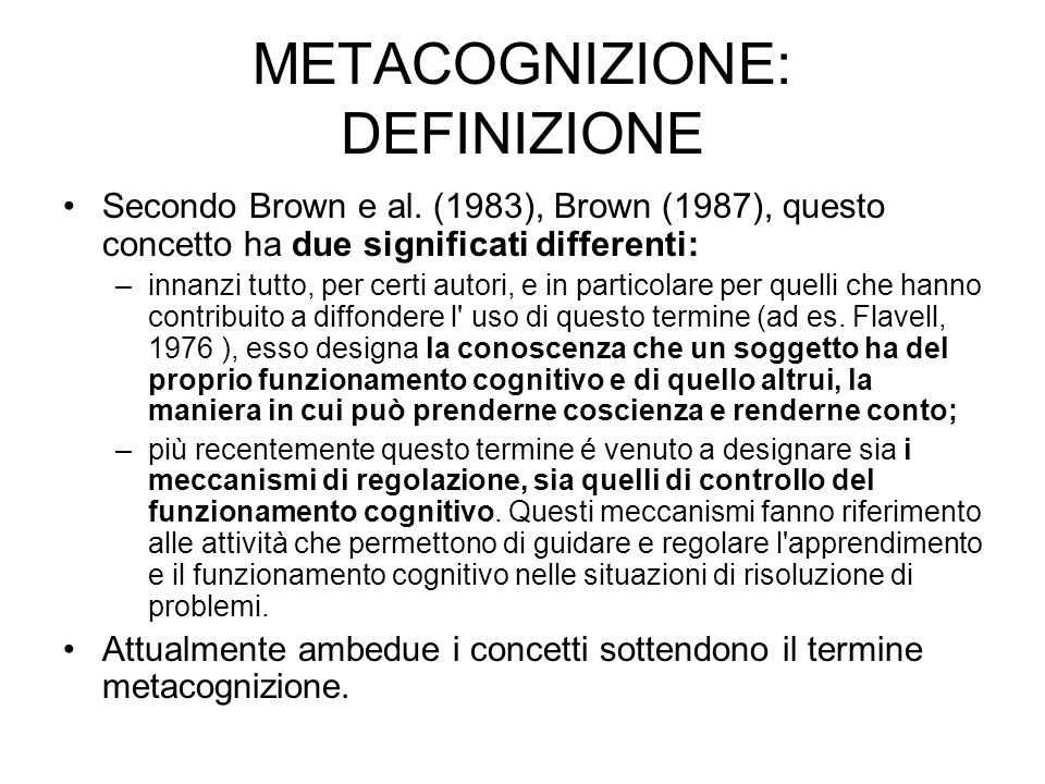 METACOGNIZIONE: DEFINIZIONE