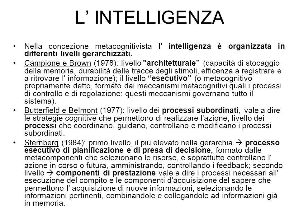 L' INTELLIGENZA Nella concezione metacognitivista l intelligenza è organizzata in differenti livelli gerarchizzati.