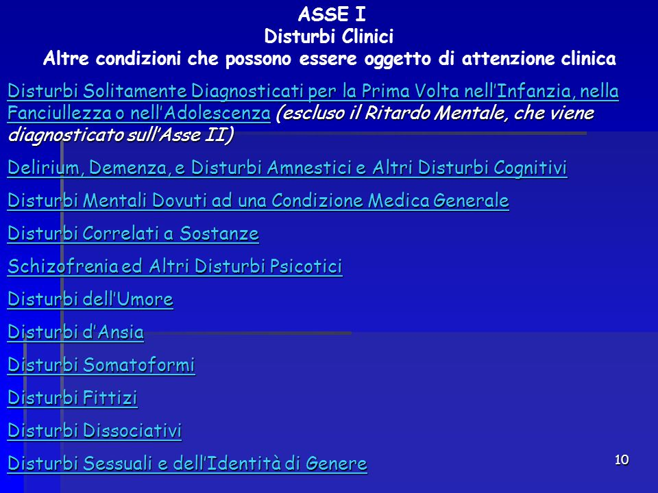 ASSE I Disturbi Clinici Altre condizioni che possono essere oggetto di attenzione clinica
