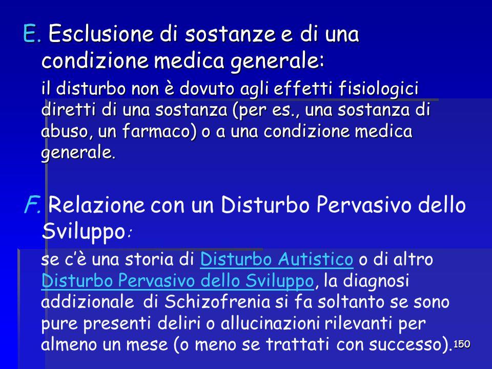 Esclusione di sostanze e di una condizione medica generale: