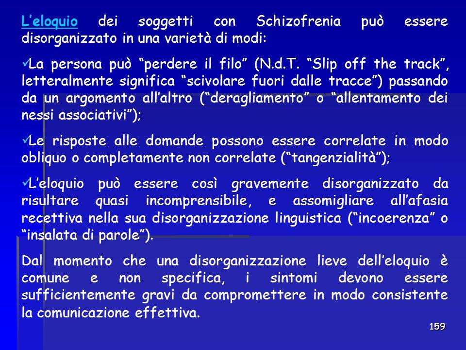 L'eloquio dei soggetti con Schizofrenia può essere disorganizzato in una varietà di modi: