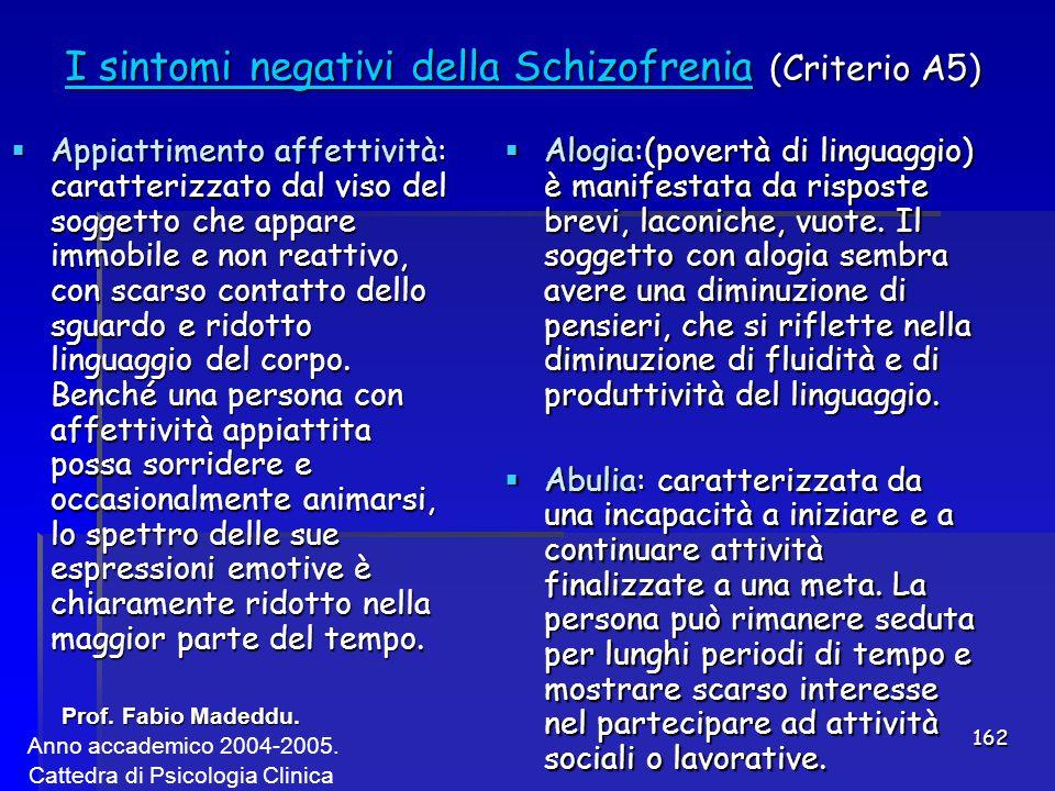 I sintomi negativi della Schizofrenia (Criterio A5)