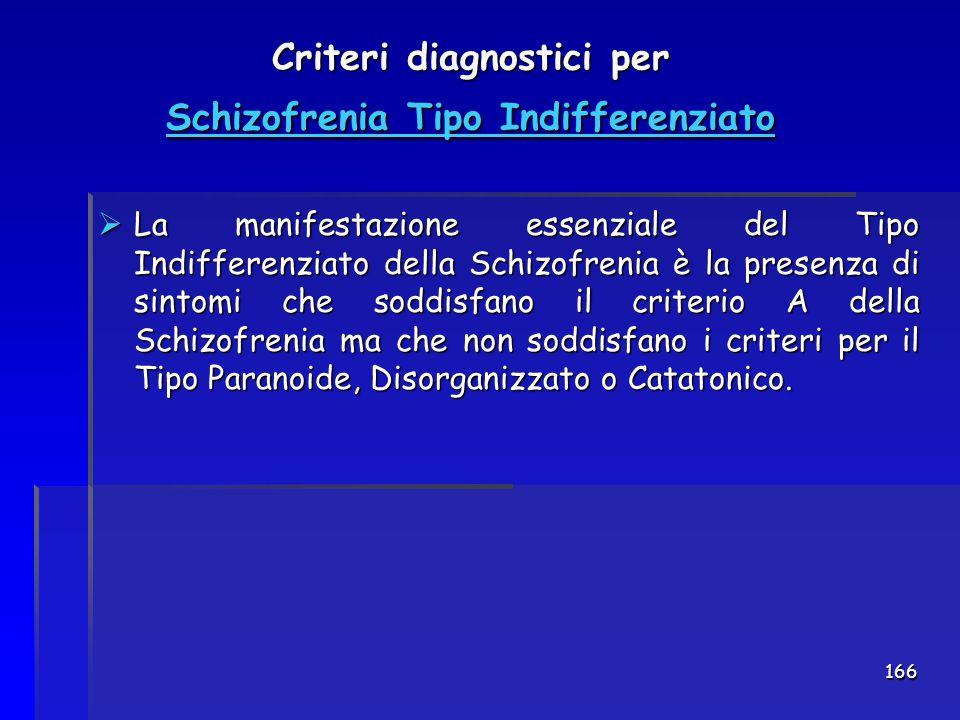 Criteri diagnostici per Schizofrenia Tipo Indifferenziato