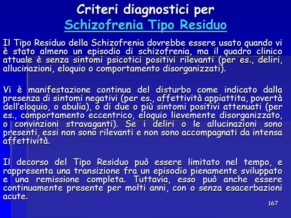 Criteri diagnostici per Schizofrenia Tipo Residuo