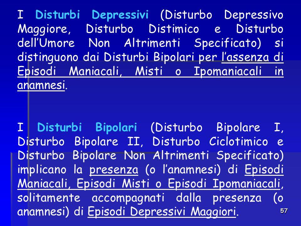 I Disturbi Depressivi (Disturbo Depressivo Maggiore, Disturbo Distimico e Disturbo dell'Umore Non Altrimenti Specificato) si distinguono dai Disturbi Bipolari per l'assenza di Episodi Maniacali, Misti o Ipomaniacali in anamnesi.