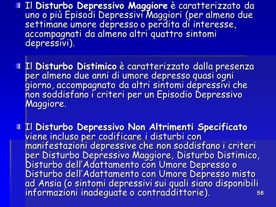 Il Disturbo Depressivo Maggiore è caratterizzato da uno o più Episodi Depressivi Maggiori (per almeno due settimane umore depresso o perdita di interesse, accompagnati da almeno altri quattro sintomi depressivi).