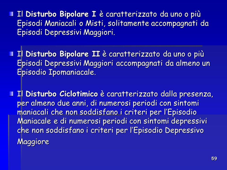 Il Disturbo Bipolare I è caratterizzato da uno o più Episodi Maniacali o Misti, solitamente accompagnati da Episodi Depressivi Maggiori.