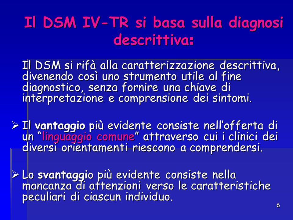 Il DSM IV-TR si basa sulla diagnosi descrittiva: