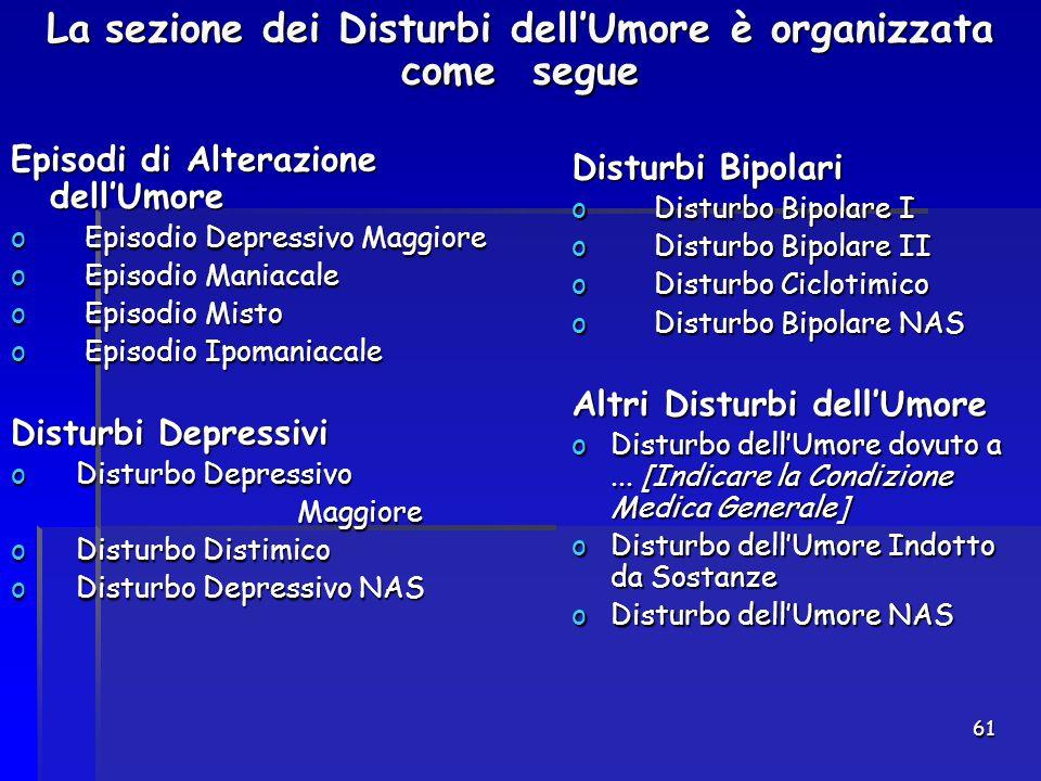 La sezione dei Disturbi dell'Umore è organizzata come segue