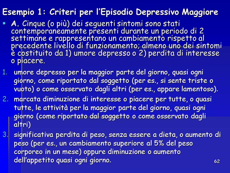 Esempio 1: Criteri per l'Episodio Depressivo Maggiore