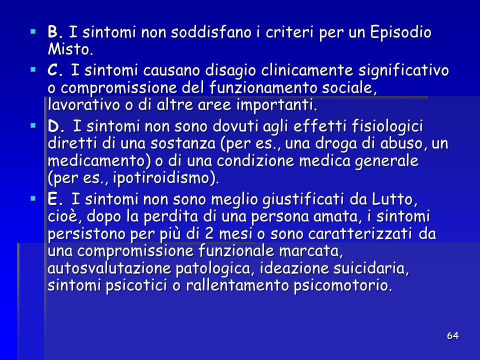 B. I sintomi non soddisfano i criteri per un Episodio Misto.