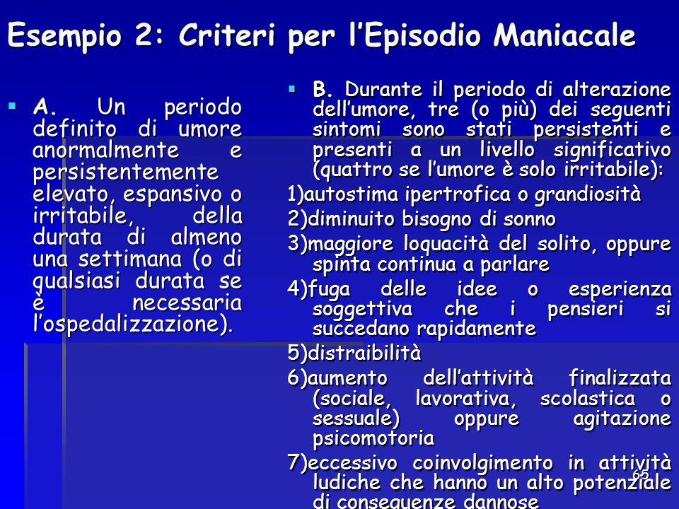 Esempio 2: Criteri per l'Episodio Maniacale