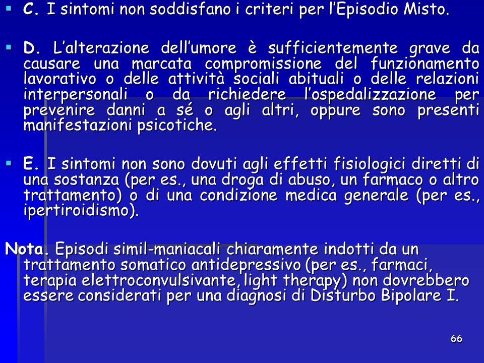 C. I sintomi non soddisfano i criteri per l'Episodio Misto.
