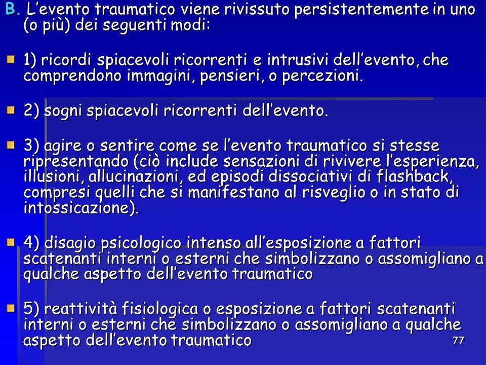 B. L'evento traumatico viene rivissuto persistentemente in uno (o più) dei seguenti modi: