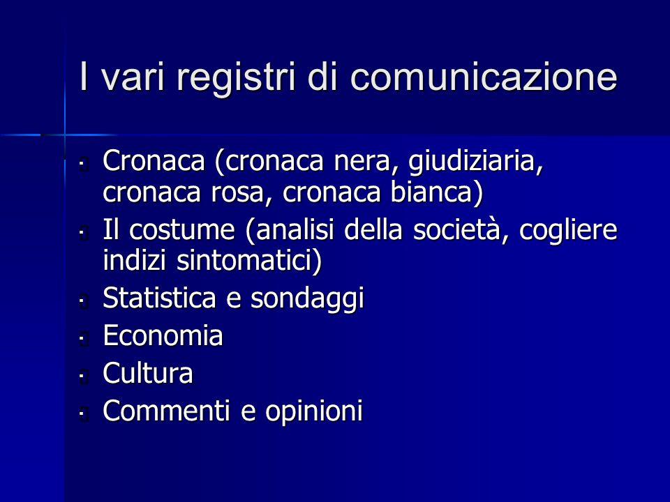 I vari registri di comunicazione