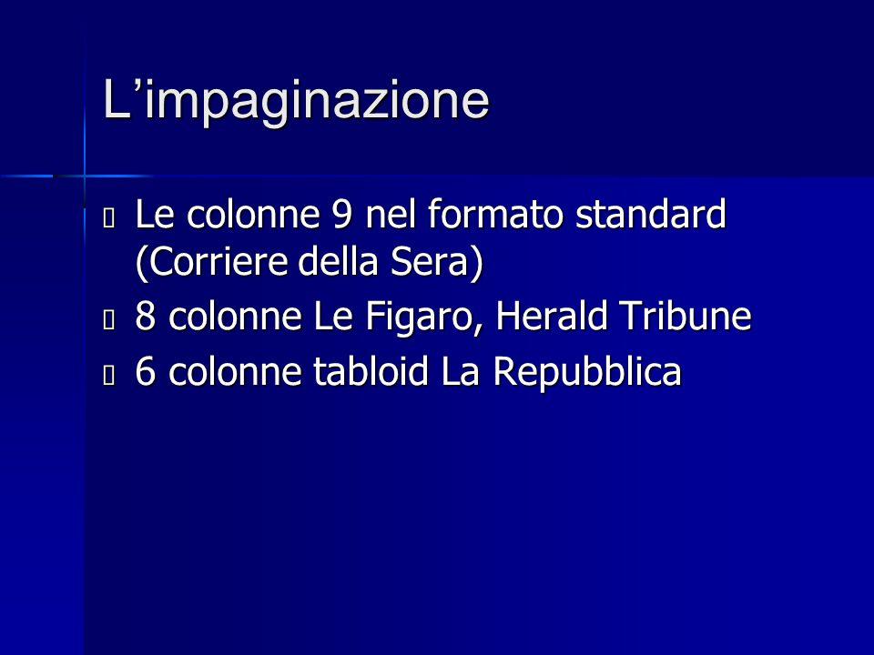 L'impaginazione Le colonne 9 nel formato standard (Corriere della Sera) 8 colonne Le Figaro, Herald Tribune.