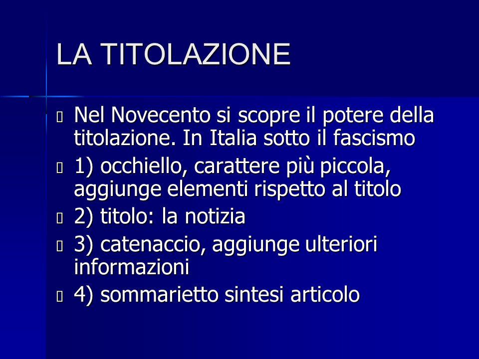 LA TITOLAZIONE Nel Novecento si scopre il potere della titolazione. In Italia sotto il fascismo.
