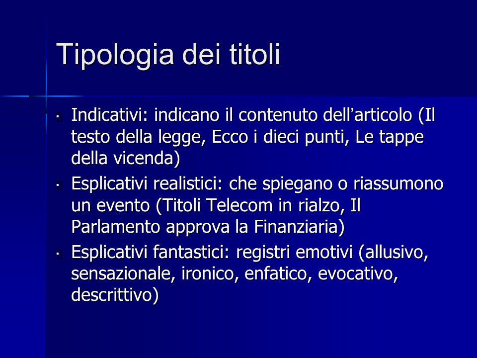 Tipologia dei titoli Indicativi: indicano il contenuto dell'articolo (Il testo della legge, Ecco i dieci punti, Le tappe della vicenda)