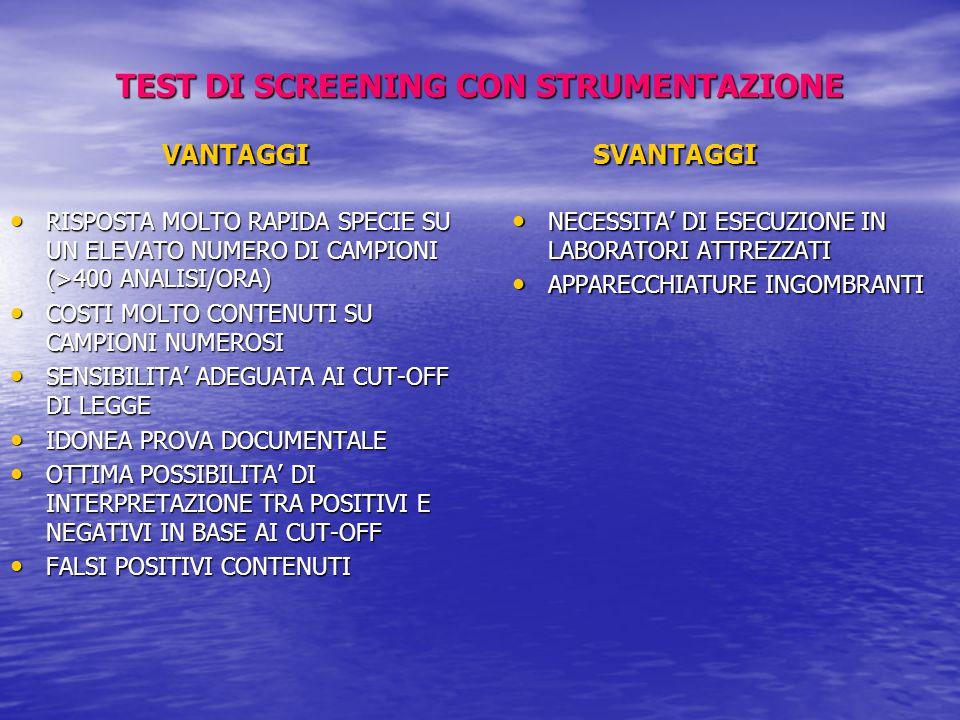 TEST DI SCREENING CON STRUMENTAZIONE
