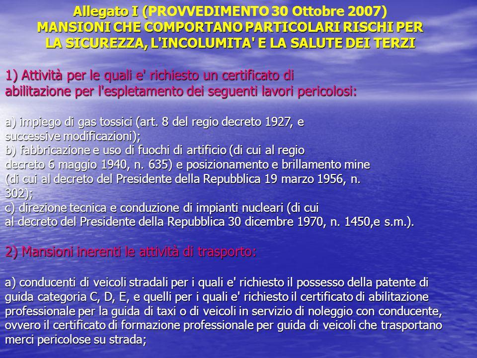 Allegato I (PROVVEDIMENTO 30 Ottobre 2007)