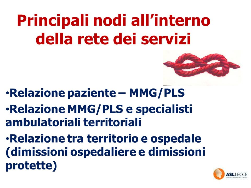 Principali nodi all'interno della rete dei servizi