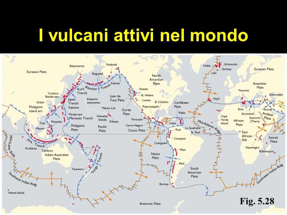 I vulcani attivi nel mondo