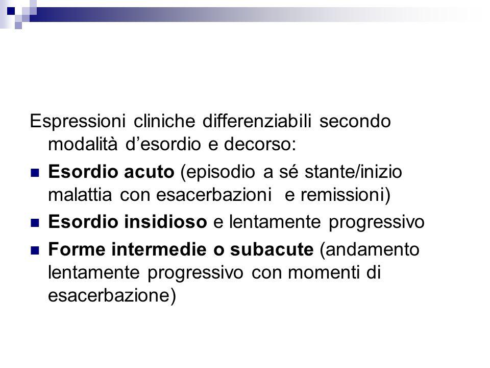 Espressioni cliniche differenziabili secondo modalità d'esordio e decorso: