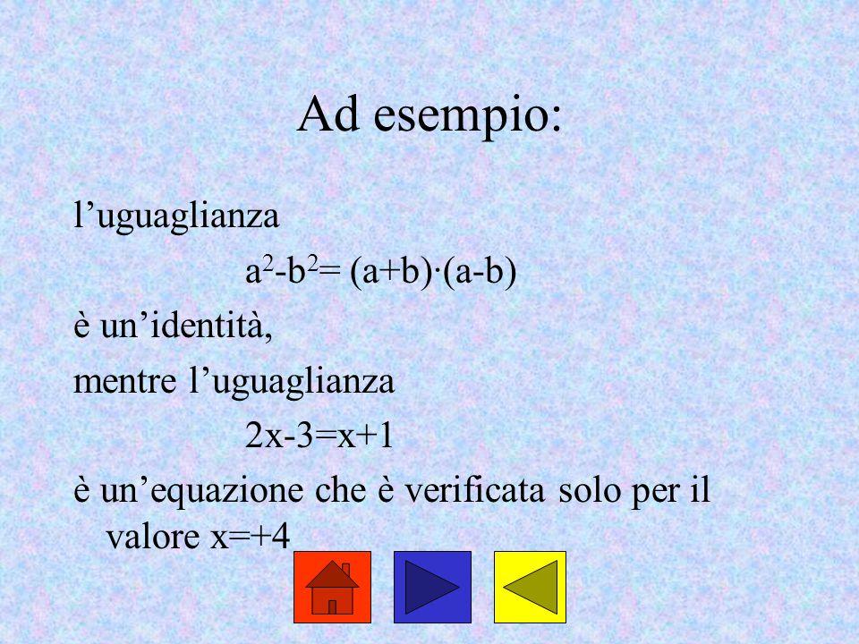 Ad esempio: l'uguaglianza a2-b2= (a+b)·(a-b) è un'identità,