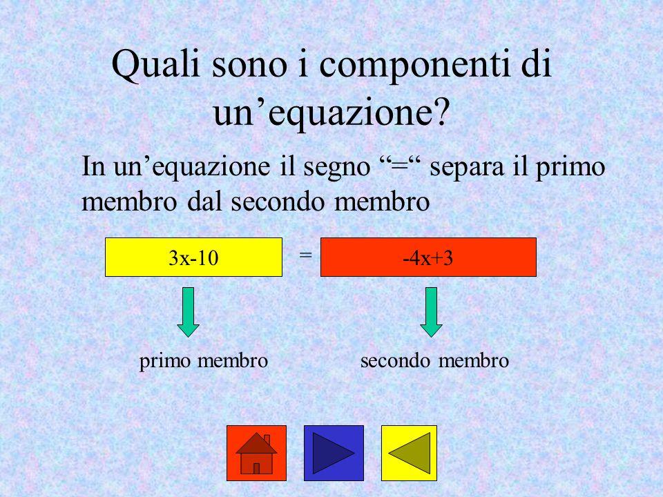 Quali sono i componenti di un'equazione