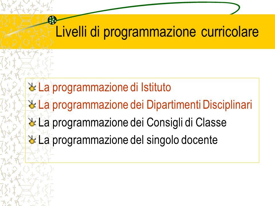 Livelli di programmazione curricolare