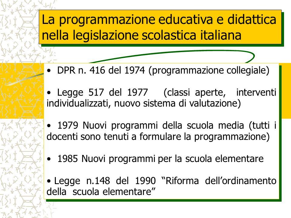 La programmazione educativa e didattica nella legislazione scolastica italiana